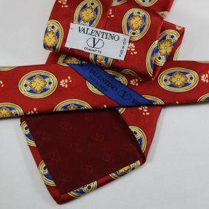 Valentino Tie Red Floral Foulard, 100% Silk, Italy